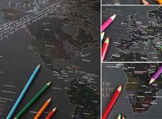 World Map black pencil drawings