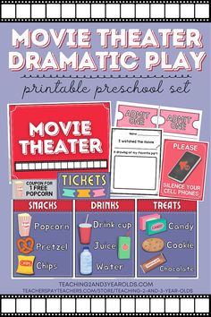 Movie Theater Dramatic Play Printable Packet for Toddlers and Preschoolers - 23 Printable Pages for Pretend Play Fun! #dramaticplay #pretend #movietheater #printables #play #toddlers #preschool #classroom #teaching2and3yearolds Dramatic Play Area, Dramatic Play Centers, Preschool Classroom, Toddler Preschool, Time Planner, 3 Year Olds, Play Centre, Matching Cards, Learning Through Play