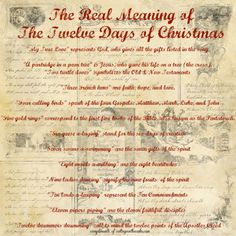 Vintage c. 1940s True Meaning of 12 Days Of Christmas Free Printable