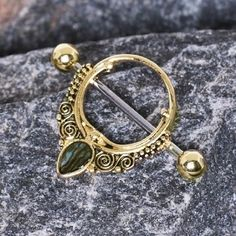 Gold Plated Ornate Nipple Shield with Tear Drop Abalone…