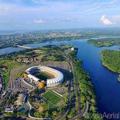 """""""Vista aérea del estadio Cachamay, Ciudad Guayana Fotografía: @vzlaaerial  Hay una Venezuela deslumbrante que vale la pena conocer. Siguenos y usa el…"""""""