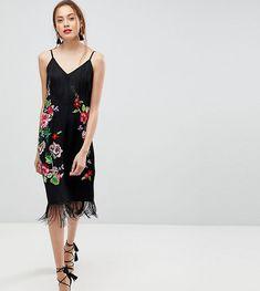 f634b2ba5f5 ASOS TALL PREMIUM Embroidered Slip Cami Dress With Fringing – Multi