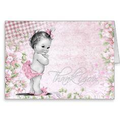 Obrigado doce do chá de fraldas do rosa do vintage cartão de nota
