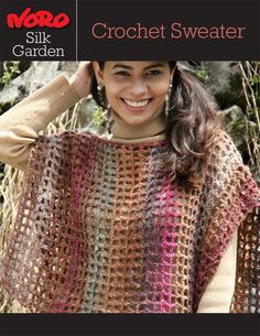 Silk Garden Crochet Sweater [Y-977] | Knitting Fever; has a band at the bottom