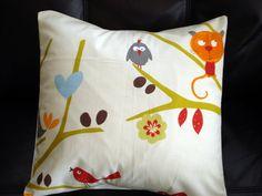 Throw pillow Tree bird house cat owl  bird red blue by VeeDubz, $15.00