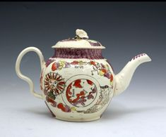 """18th century William Greatbach Staffordshire pottery teapot honouring the discovery of Australia, with images of """" Britannia directing Captain Cook"""" and""""The World with the sun, moon and stars"""", UK, c. 1776"""