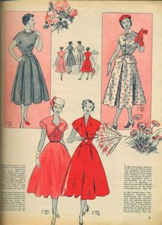 Cute 50's dresses!  I would wear these everyday! <3 Burda, April 1953.