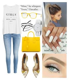 """""""Untitled #97"""" by mariangela06 ❤ liked on Polyvore featuring Ray-Ban, Steve Madden, H&M, MANGO, Yves Saint Laurent and Calvin Klein"""
