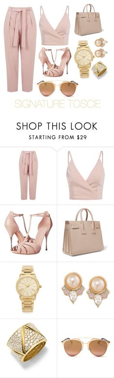 """Peach Perfect"" by signaturetoscie ❤ liked on Polyvore featuring Topshop, Alexander McQueen, Yves Saint Laurent, Michael Kors, Carolee, Marina B and Christian Dior"