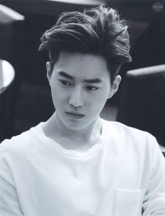 This would be my favourite hair on him. Why does SM have to cute it short & make him look like a little boy?? | Suho EXO