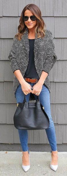 #winter #fashion / +- Black & White Blazer + Black Top
