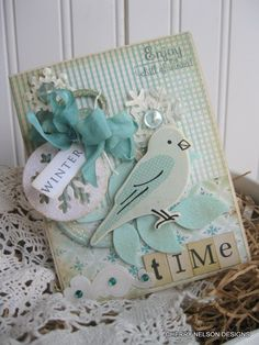 shabby winter card- POCKET watch WINTER TIME card- bird card- enjoy the chill of winter handmade card