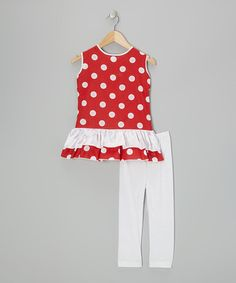 Take a look at this Red Polka Dot Tunic & White Leggings - Infant, Toddler & Girls by Kid Fashion on #zulily today!