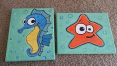 Cute seahorse and starfish canvas paintings!