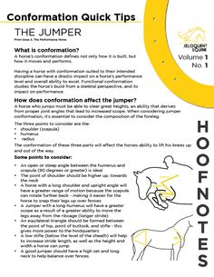 Volume 1, No. 1 focuses on quick tips for assessing Jumper conformation, and is based on a larger article on Conformation featured in Issue 4, The Performance Horse.  Download the PDF here: http://wp.me/p3ER8w-7b