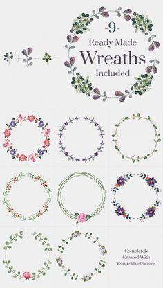 Custom Wreath Creator With Flowers by Emine Gayiran on Creative Market