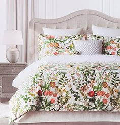 vintage botanical wild flower print duvet quilt cover by envogue cotton percale bedding set colorful floral branches drawing of summer blossoms queen