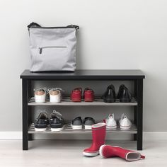 15 Creative Shoe Rack Design Ideas To Keep Your Shoes Tidy – PAPPERY - jewel. Shoe Storage White, Bench With Shoe Storage, Storage Trolley, Storage Shelves, Storage Ideas, Shelf, Ikea Tjusig, Shoe Tidy, Ikea Bank
