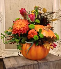 Send flowers from a real McLean, VA local florist. Flowers & Plants, Etc. has a large selection of gorgeous floral arrangements and bouquets. We offer same-day flower deliveries for flowers. Halloween Flower Arrangements, Pumpkin Arrangements, Halloween Flowers, Fall Floral Arrangements, Beautiful Flower Arrangements, Holiday Centerpieces, Thanksgiving Decorations, Pumkin Decoration, Adornos Halloween