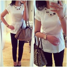 """Theory White Peplum Top, size P In excellent condition. Worn a few times and dry cleaned as recommended on the care tag. I bought this top when my waist was 25"""" but now it's way too snug. Also a nude bra is recommended. Theory Tops Blouses"""