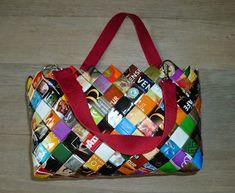 Longchamp Bricole: Sac cabas coloré avec des emballages de récup (café, chips ...)
