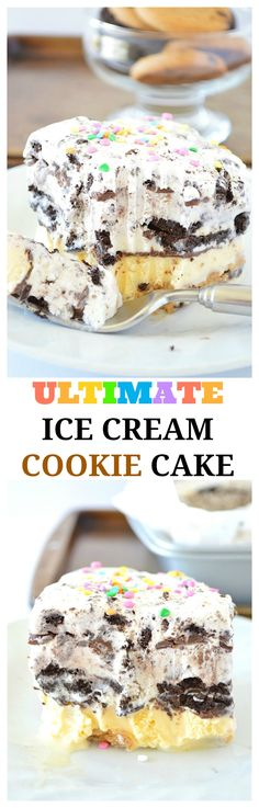This is the Ultimate Ice Cream Cookie Cake! It's a dessert that's completely no-bake. The ice cream cake is packed with cookies in every layer! Loaded with chewy chocolate chip cookies, chocolate sandwich cookies, cookies and cream ice cream, and chocolate chip cookie dough ice cream! This recipe will be a family favorite.