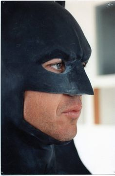 Test fitting of the Batman Returns cowl on Michael Keaton back in 1992.