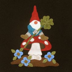 It's a Gnomes World - March - Lucky Gnome Digital Pattern Wool Applique Patterns, Felt Applique, Applique Quilts, Applique Ideas, Quilting Patterns, Felt Embroidery, Hand Applique, Felt Patterns, Embroidery Designs