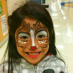 The BEST JOB EVER is being a Face Painter! I Love Face Painting! Rudolph the Red Nosed Reindeer mask - FunnyCheeksTJ / Dallas Face Painter