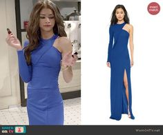 KC's blue one-sleeved gown on KC Undercover.  Outfit Details: http://wornontv.net/44501/ #KCUndercover