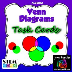 Set Theory with Venn Diagrams Task Cards Activity (And, Or, and ...