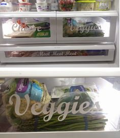 vinyl fridge labels--great organization