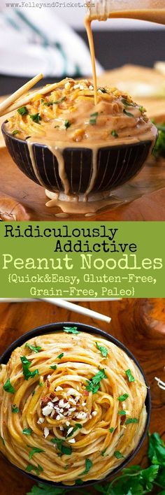 These ridiculously addictive peanut noodles are so good you. These ridiculously addictive peanut noodles are so good you wont be able to stop eating them but dont worry- they are super healthy! Gluten-free grain-free and paleo they make a super quick Paleo Recipes, Asian Recipes, Cooking Recipes, Paleo Sauces, Gluten Free Vegetarian Recipes, Thai Recipes, Mexican Recipes, Think Food, Love Food