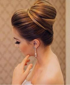 Elegant bun updo wedding hairstyle