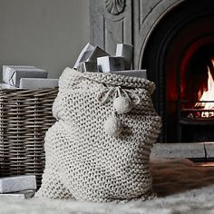 Hand-Knitted Present Sack   The White Company