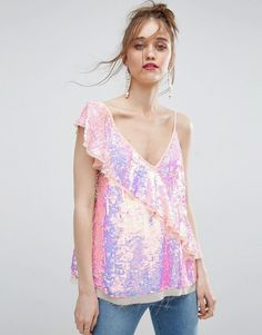One Shoulder Ruffle Sequin Cami