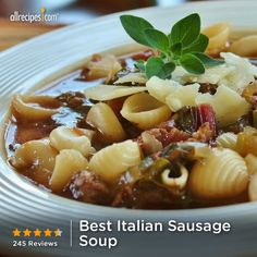 "Best Italian Sausage Soup | ""My husband told me this was his favorite thing I have ever cooked for him! We ate this for days after I cooked it and it was better each time!"""