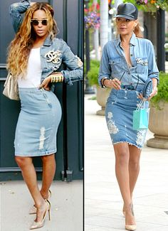 Denim-on-denim duel! Both Beyonce and Rihanna rocked this look, complete with Chanel bling.