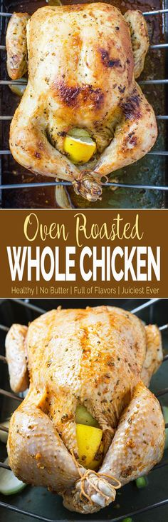 Learn to make perfect super juicy garlic & herb roasted whole chicken in the oven. Quick preparation & tons of flavors with delicious gravy prepared using pan drippings.   via @watchwhatueat