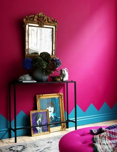 colour pink walls with interesting baseboards