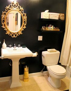 Never thought I could do a black bathroom, but this is nice