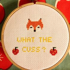 Are you cussing with me? Free cross stitch pattern for Wes Anderson's Fantastic Mr. Fox, for personal use only