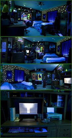 black/blue lit cool stoner room