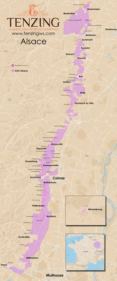 Map of Alsace wine region