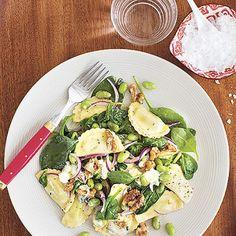 Bild på Ostfylld pasta med ädelost, valnöt och spenat