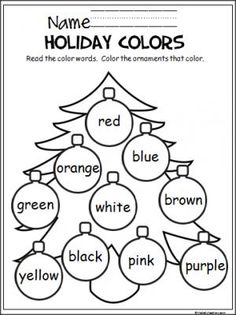 holiday art Free Christmas coloring activity to help Pre-K and Kindergarten students learn the colors. Color Worksheets For Preschool, Preschool Colors, Color Activities, Preschool Learning, Christmas Activities, Student Learning, Preschool Activities, Preschool Kindergarten, English Kindergarten