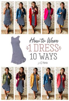 How to wear 1 striped navy dress 10 different ways! This navy striped dress can be worn and styled so many ways and for all the seasons! It is also a perfect piece for a capsule wardrobe!