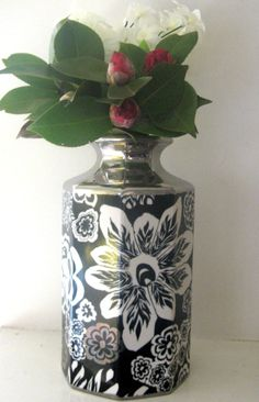 "Missoni for Target Vase Black and White Floral Silver Stoneware 11"" Medium"