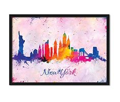 New York City Skyline Abstract Watercolor Art Print Wall Hanging Home Decor NYC #NewYork #HomeDecor #WatercolorArt #NYC #NewYorkCitySkyline #StatueofLiberty  https://www.amazon.com/dp/B01MTOXFNP/ref=cm_sw_r_pi_dp_x_oV-lyb5PYVAXC