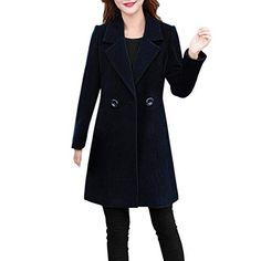 43b02d45e60d4 Forthery Women s Trench Coat Winter Long Jacket Double Breasted Overcoat Winter  Jackets Women